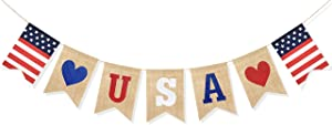 Uniwish USA Banner Burlap Bunting 4th of July Decorations American Independence Day Celebration Red White and Blue Theme Party Supplies