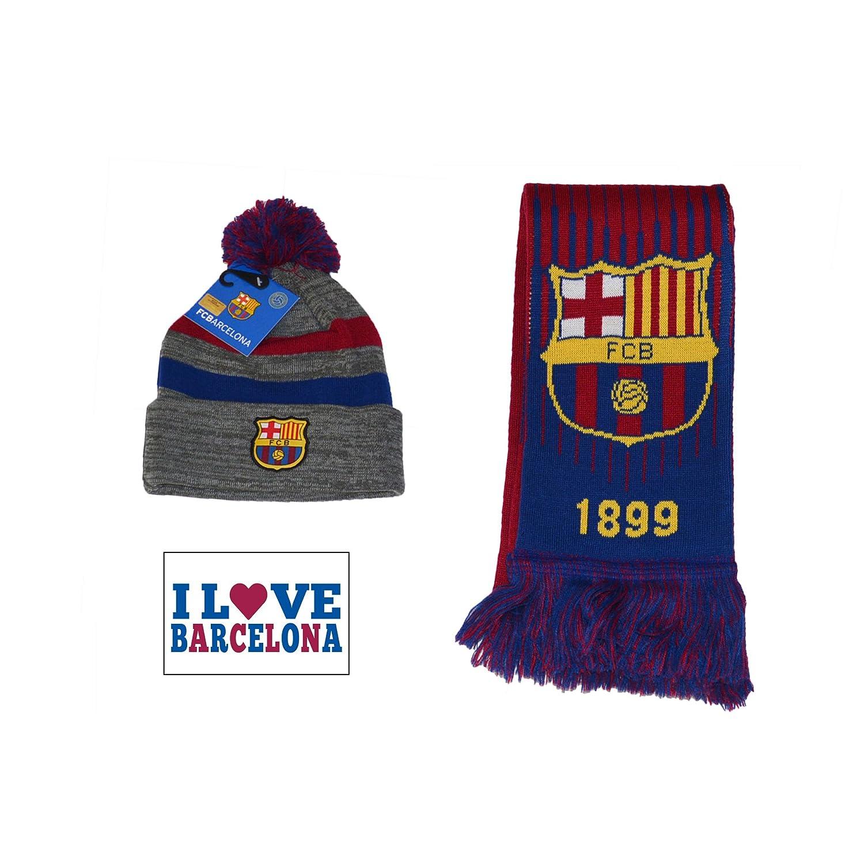 FCバルセロナセットPomビーニースカルキャップ帽子とスカーフリバーシブル B077V2DF2M ネイビーレッド ネイビーレッド