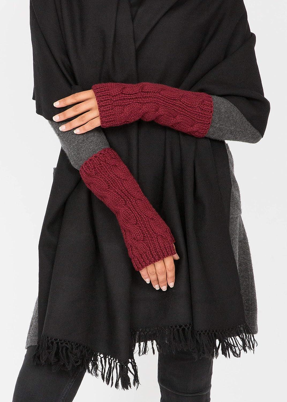 mit dekorativem Zopfmuster ethisches Geschenk likemary Handschuhe Armstulpen Pulsw/ärmer aus Merinowolle f/ür Frauen fingerlos