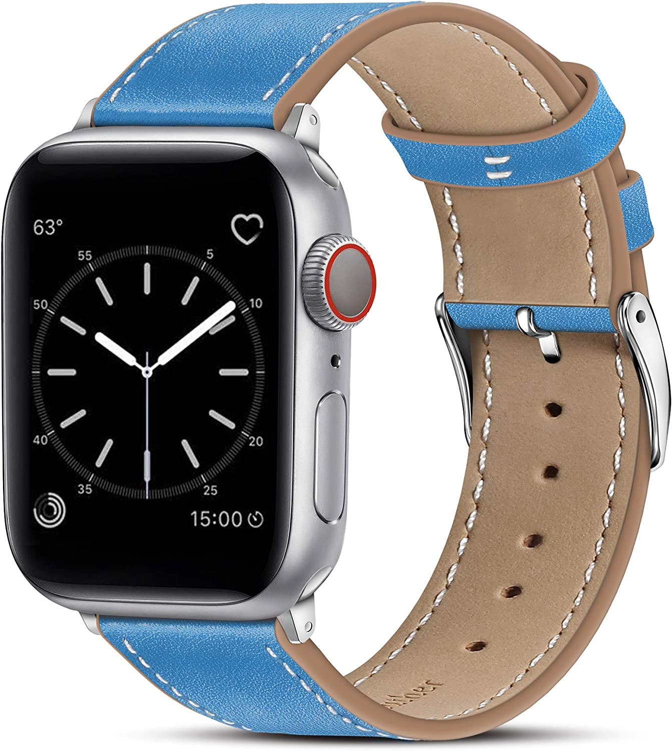 Marge Plus Compatible with Apple Watch Band 44mm 42mm 40mm 38mm, Genuine Leather Replacement Band for iWatch Series 6 5 4 3 2 1, SE (Azure Blue/Silver, 40mm/38mm)