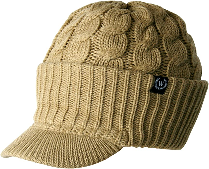 9dc7b3de13c Amazon.com  Newsboy Cable Knitted Hat with Visor Bill Winter Warm Hat for  Women (Camel)  Clothing