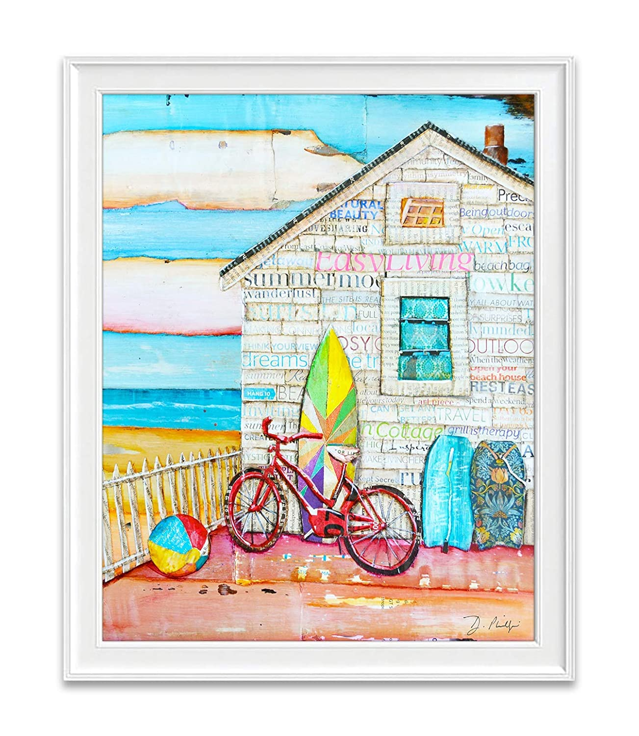Ain't It Fun, Danny Phillips Art Print, Unframed, Beach House Coastal Vacation Retro Vintage Mixed Media Art Wall and Home Decor Poster, 8x10 Inches