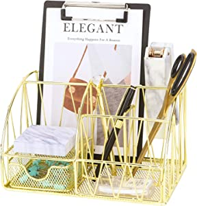 Z PLINRISE Desk Accessories Organizer, 5 Compartments with Drawer - Letter Holder, 2 Pen Holders, Sticky Note Holder and Accessory Slot, Wire Stationery Caddy for Office Supplies, Gold