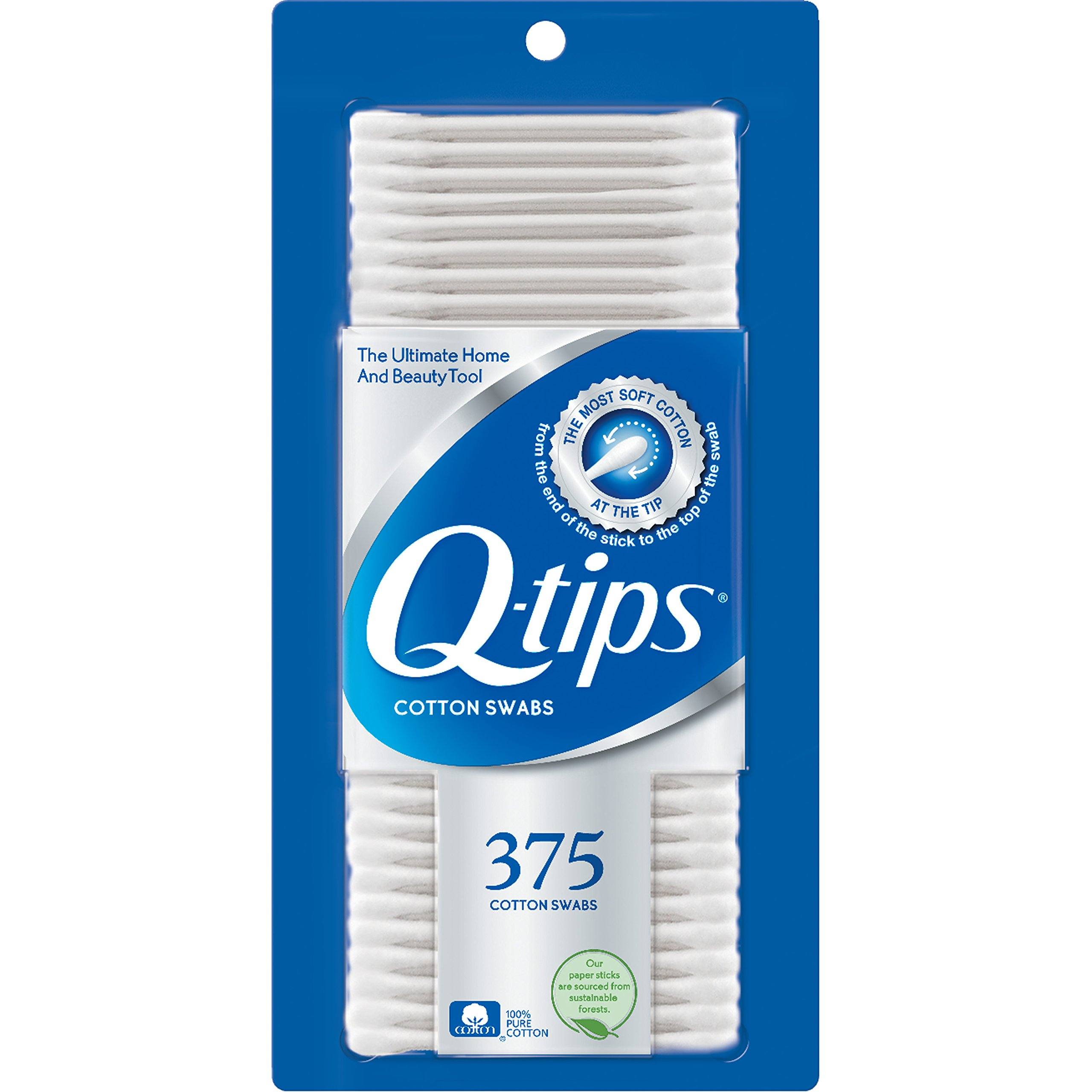 Q-tips Cotton Swabs, 375 ct