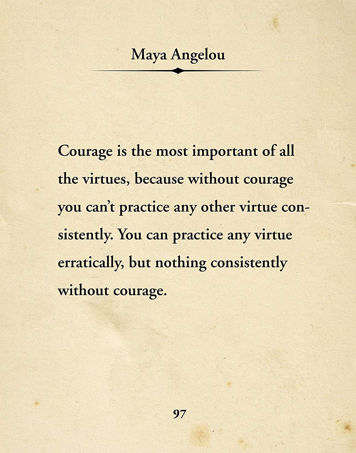 Maya Angelou Quote Wall Decor Art Print - 11x14 unframed typography book page print - great gift for book and literary fans