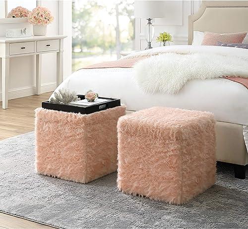 Inspired Home Blush Fur Ottoman