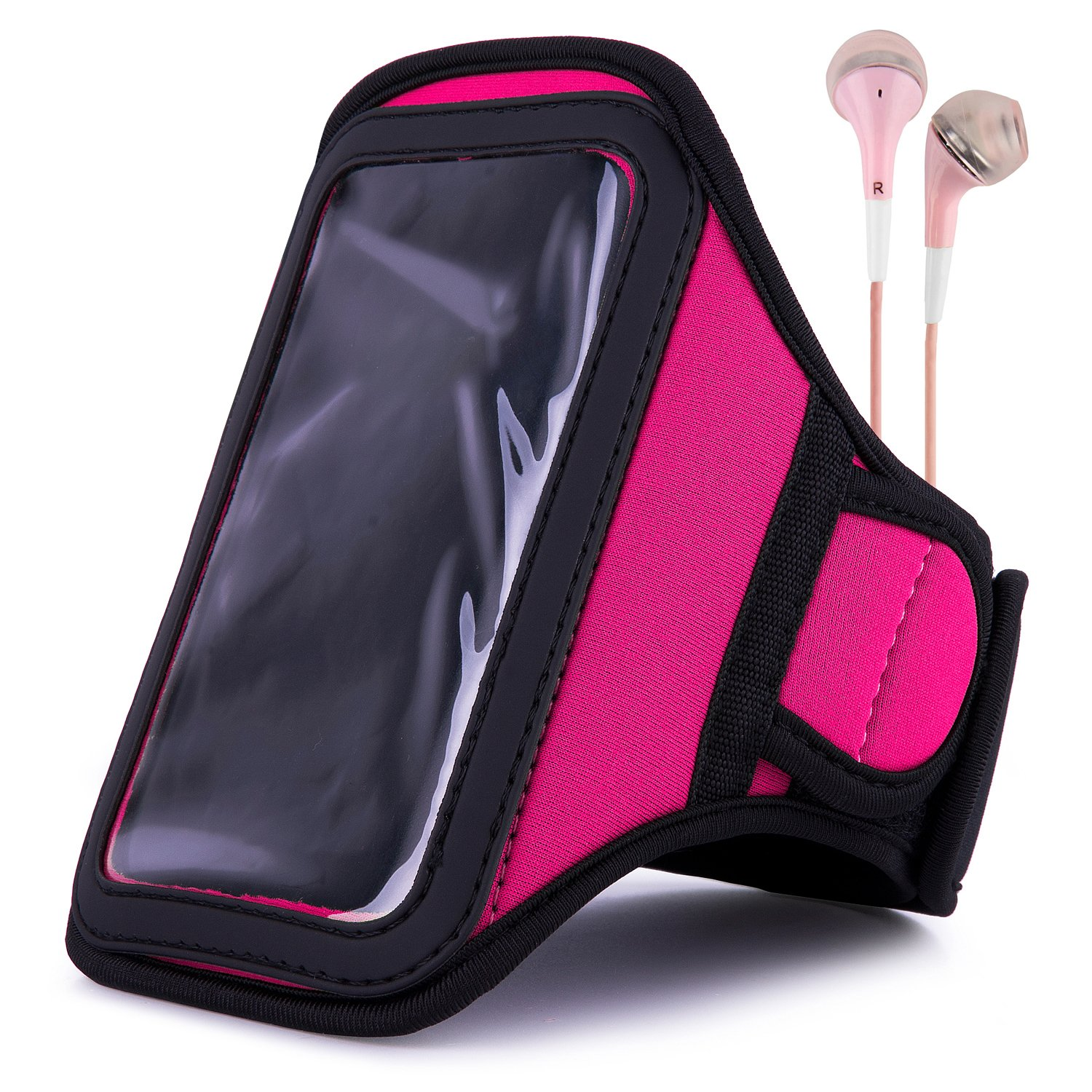 VanGoddy Armband – PINK MAGENTA Neoprene Sweat-proof w/ Key & ID Card Pouch for LG Volt LTE Android Phone + Pink Handsfree Microphone Headphones