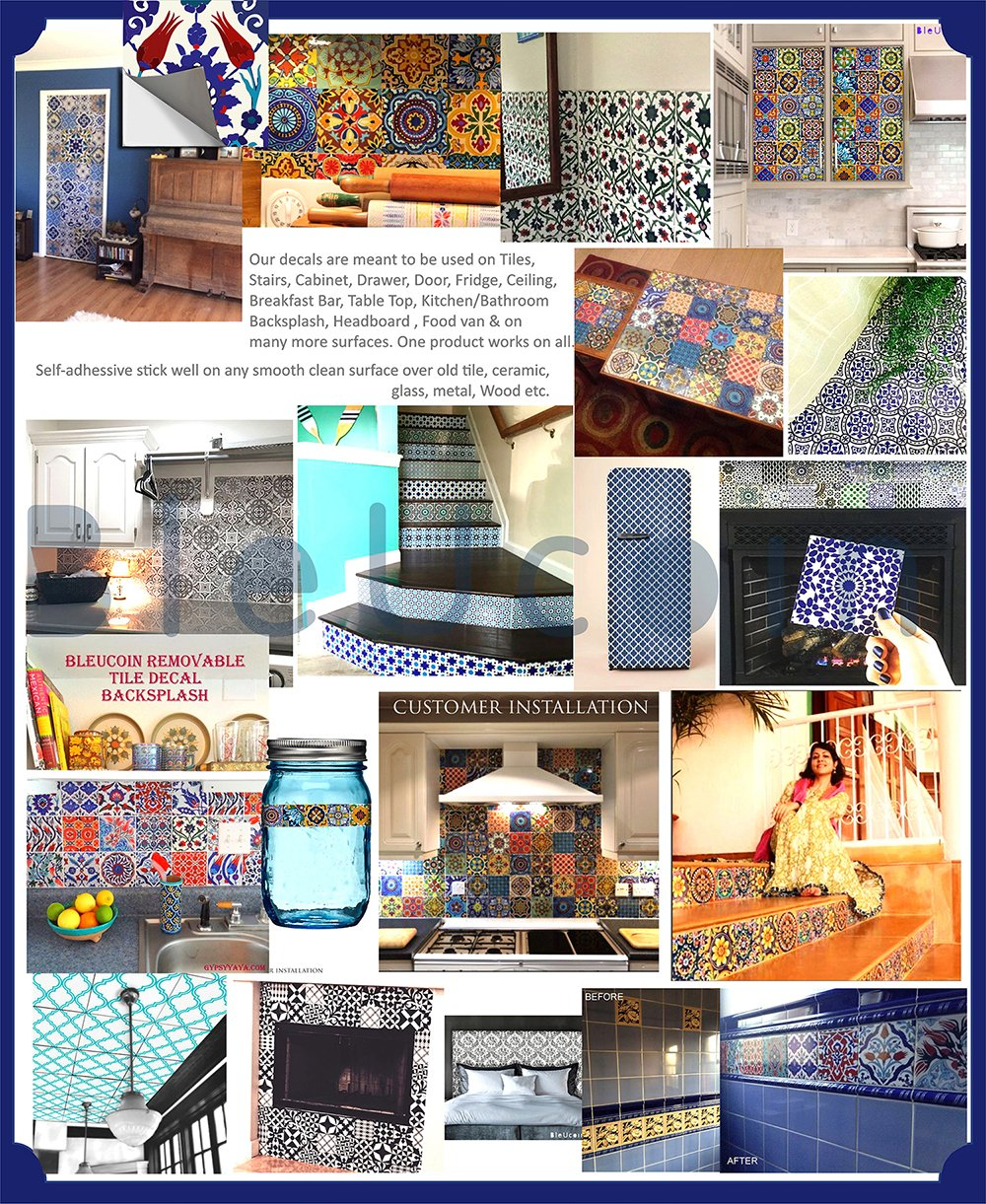 Spanish Mediterranean Talavera Tile Stickers for Kitchen Bathroom Backslash, Removable Stair Riser Decal Peel and Stick Home Decor- 44 Designs - Pack of 44 (8'' x 8'' Inches) by Bleucoin (Image #6)