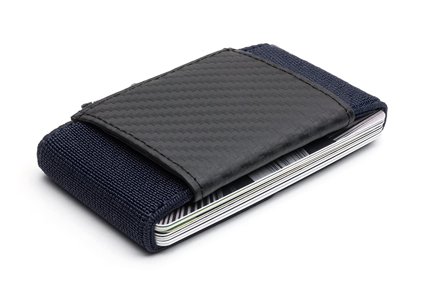 Amazon.com: POCKETO CARBON FIBER / ELASTIC Wallet, Minimalist Design and Durable Card Holder, Perfect Card Case for Sport and Travel (Navy): Clothing