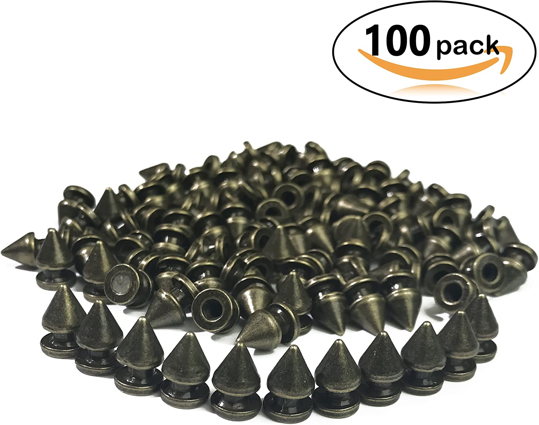 100pcs Cone Spikes Screwback Studs DIY Craft Cool Rivets Punk Stud Edge-Cylinder Style 814mm 3//81//2