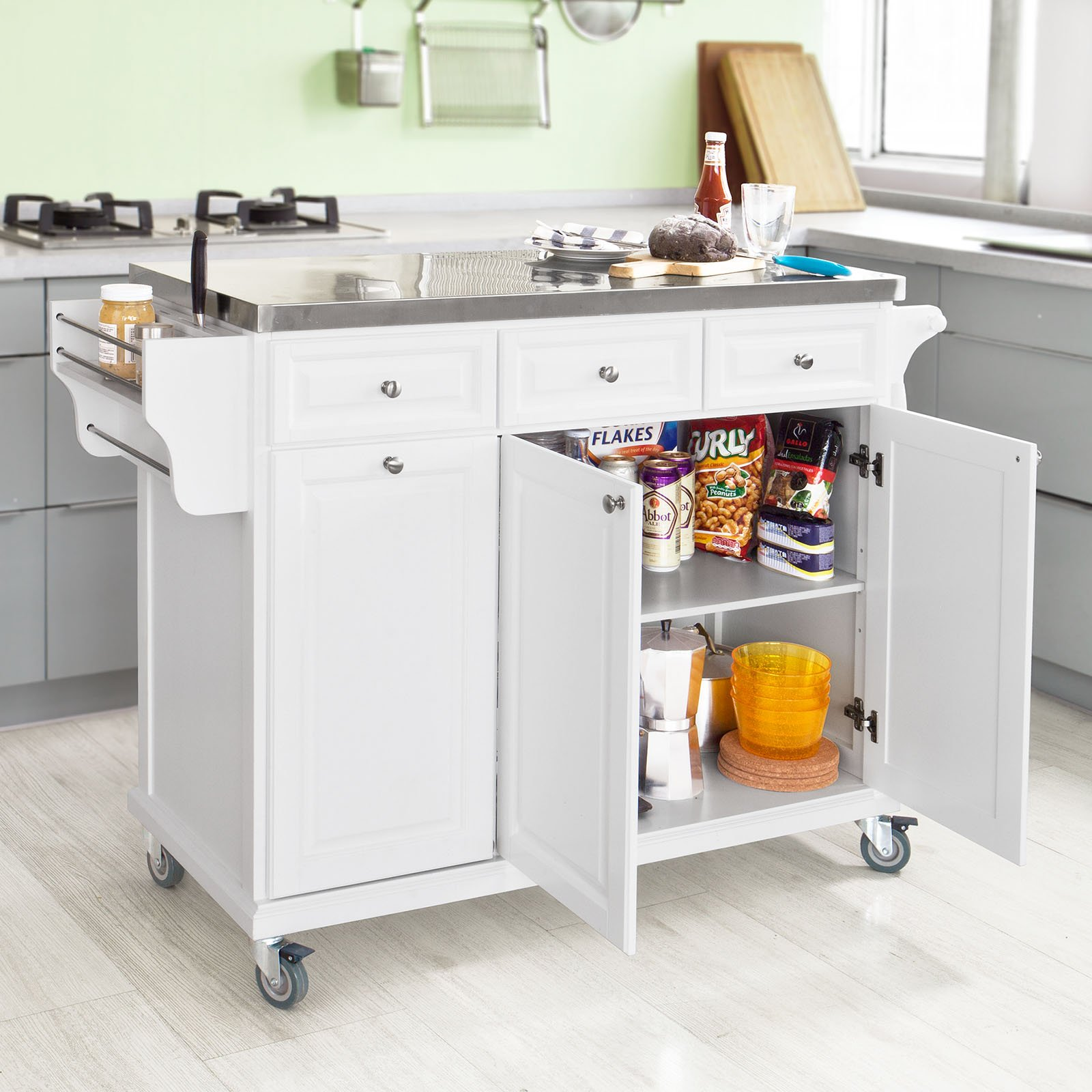 SoBuy?? White Luxury Kitchen Island Storage Trolley Cart, Kitchen Cabinet with Stainless Steel Worktop, FKW33-W by SoBuy by SoBuy (Image #2)