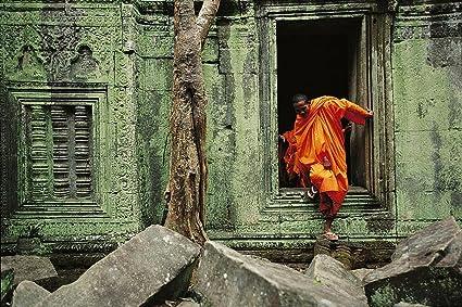 Monk At Angkor Wat Buddhist Temple Wallpaper Wall Mural