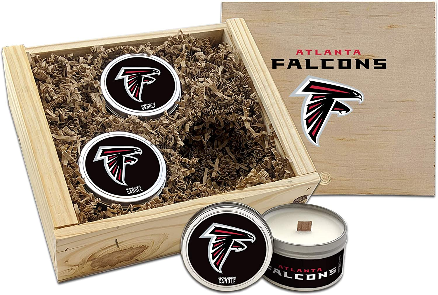 Worthy Promo NFL Atlanta Falcons Gifts 8oz Scented Candle Soy Wax w//Wood Wick and Lid Cotton Candy