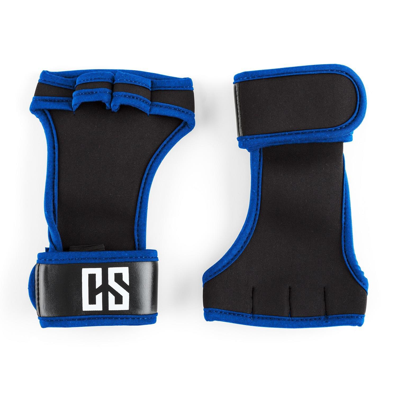 CAPITAL SPORTS Palm Pro Guantes de musculación talla L negro/azul (Agarre seguro, palma mano neopreno resistente, lavable, protección muñecas, ...