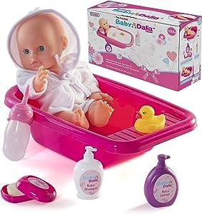 Prextex 8 Piece Doll Bath Set with Doll, Bathtub, Robe and Bath Accessories - Baby Dalia Doll Bathing Gift Set for Boys and Girls