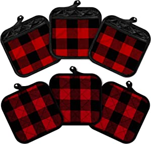 Whaline 6pcs Buffalo Plaid Hot Pot Holders Cotton Hot Pad with Pocket Reusable Heat Resistant Oven Mint for Kitchen Cooking and Baking (Red Black)