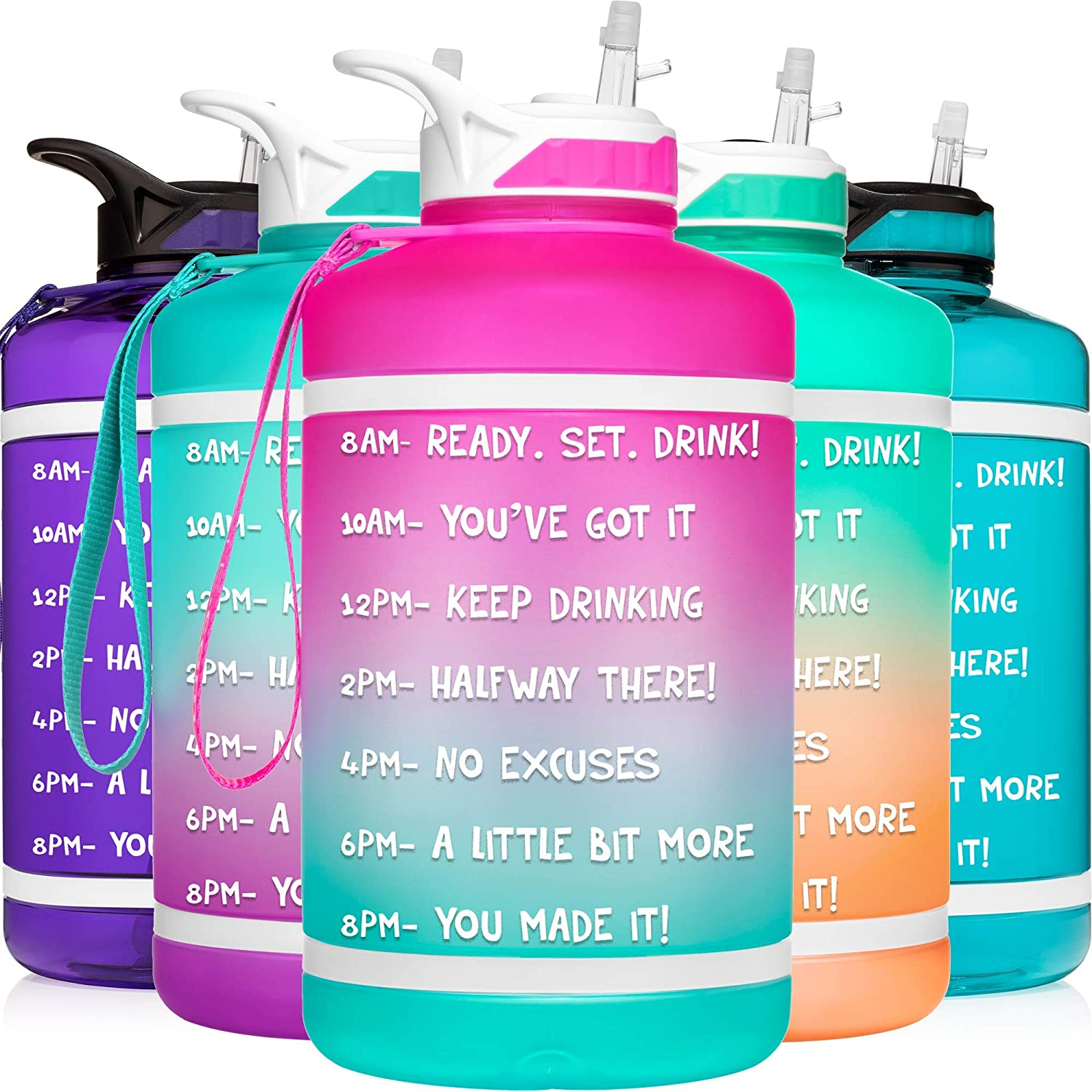 Amazon Com Hydromate Half Gallon 64 Oz Motivational Water Bottle With Straw Time Marker Large Bpa Free Jug Handle Reusable Workout Gym Fitness Drink More Hydro Mate 64oz Half Gallon Ombre Pink
