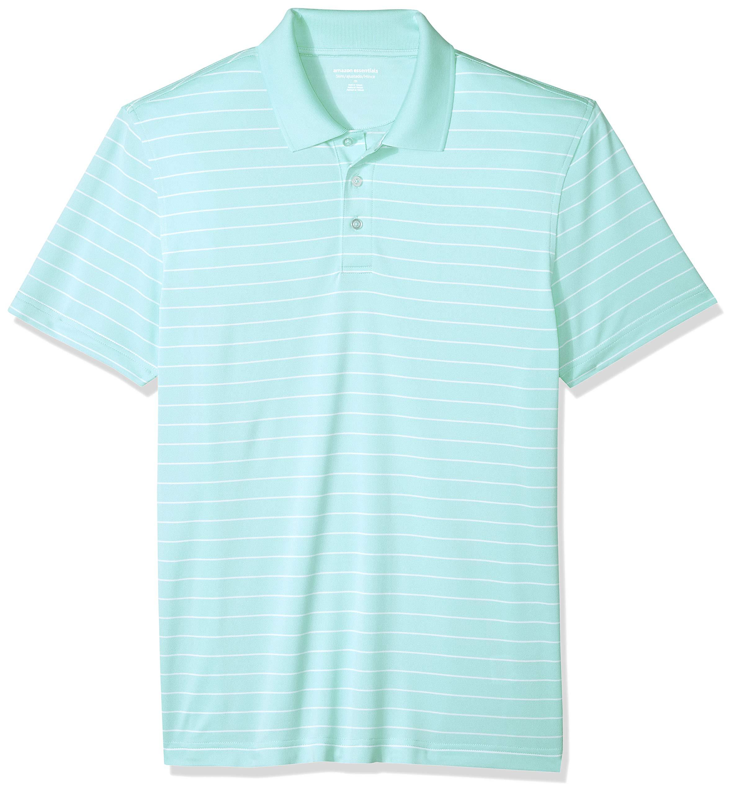 Amazon Essentials Men's Slim-Fit Quick-Dry Golf Polo Shirt, Aqua Stripe, X-Large by Amazon Essentials