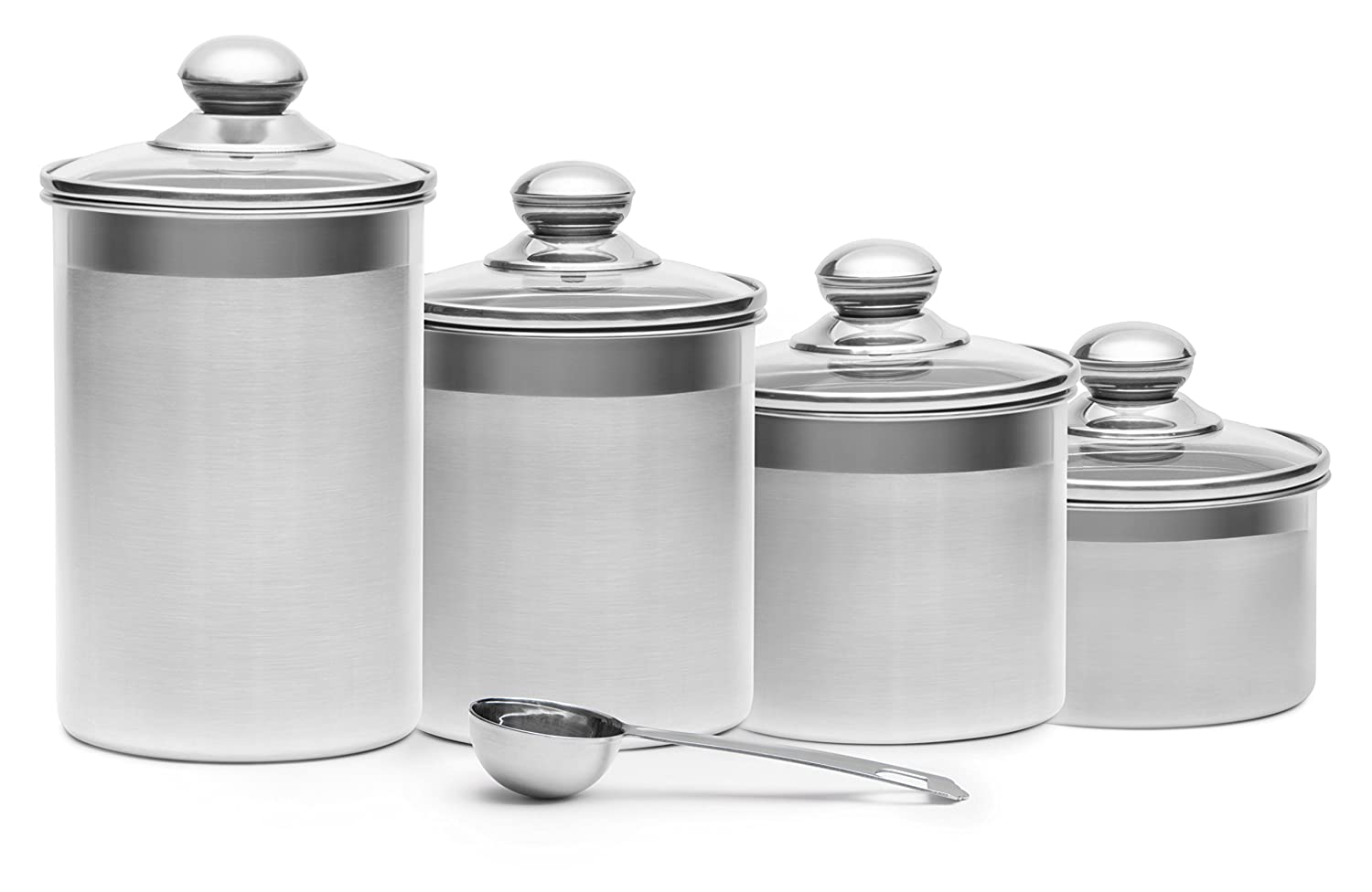 amazon best sellers best food bins canisters steel 4 piece stainless steel canister set with scoop and lids