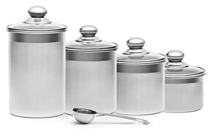 Beau +Steel 4 Piece Stainless Steel Canister Set With Scoop And Lids