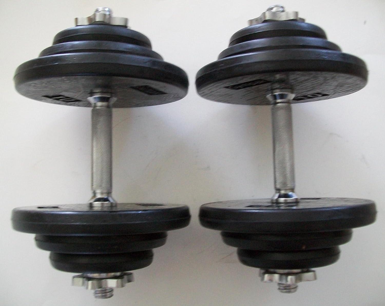 80 lb. Adjustable Dumbbell Set with Rubber Encased Plates