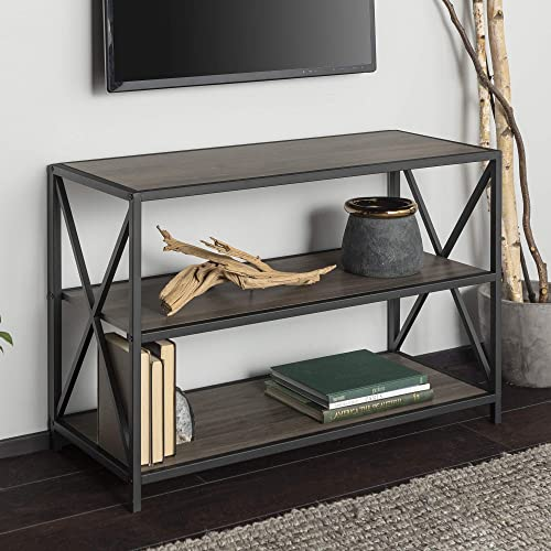 Walker Edison 2 Tier Open Shelf Industrial Wood Metal Bookcase Tall Bookshelf Home Office Storage, 40 , Black