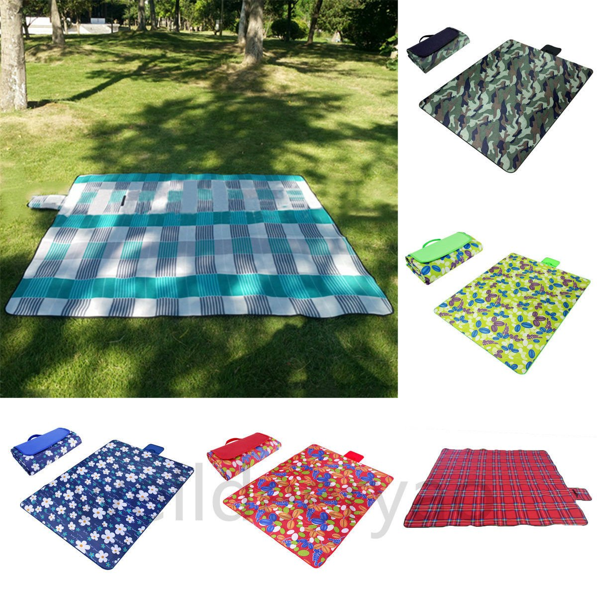 Black & Grass Paided Portable Picnic Blanket Waterproof Beach Mat Outdoor Camping Moistureproof Gift 200 200cm / 78.74 78.74in