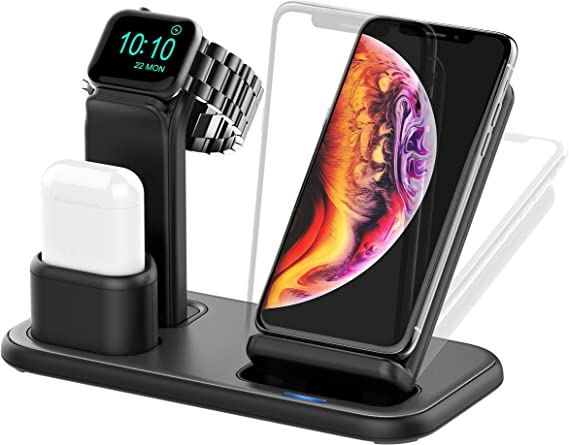 Beacoo Wireless Charger, 3 in 1 Charging Stand for Apple Watch Series 5/4/3/2/1, AirPods and iPhone Wireless Charger for iPhone 11/11pro/max/Xs/X ...