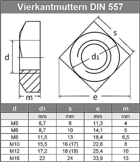Vierkant-Mutter Einlegmuttern 2 St/ück Vierkantmuttern M6 DIN 557 Edelstahl A2