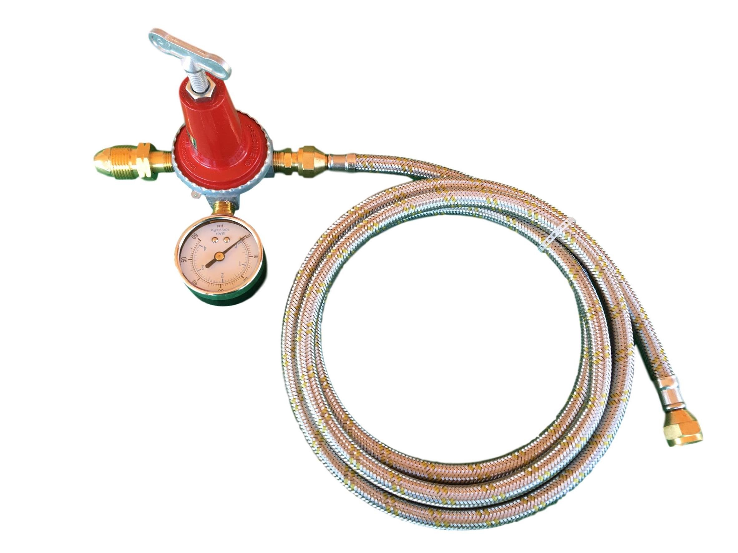 Adjustable 0 to 40psi Propane Regulator POL LP Gas Gauge and 12ft Stainless Steel Hose