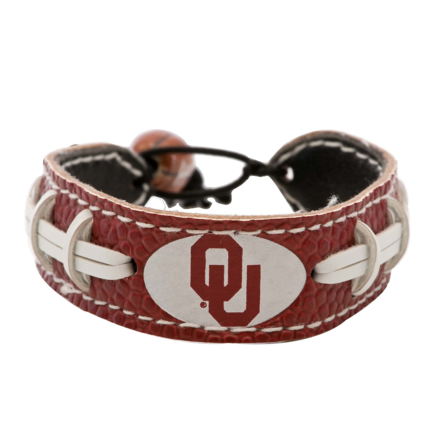 com ncaa color outdoors dp amazon gamewear bracelet sports leather football team sooners oklahoma bracelets fan
