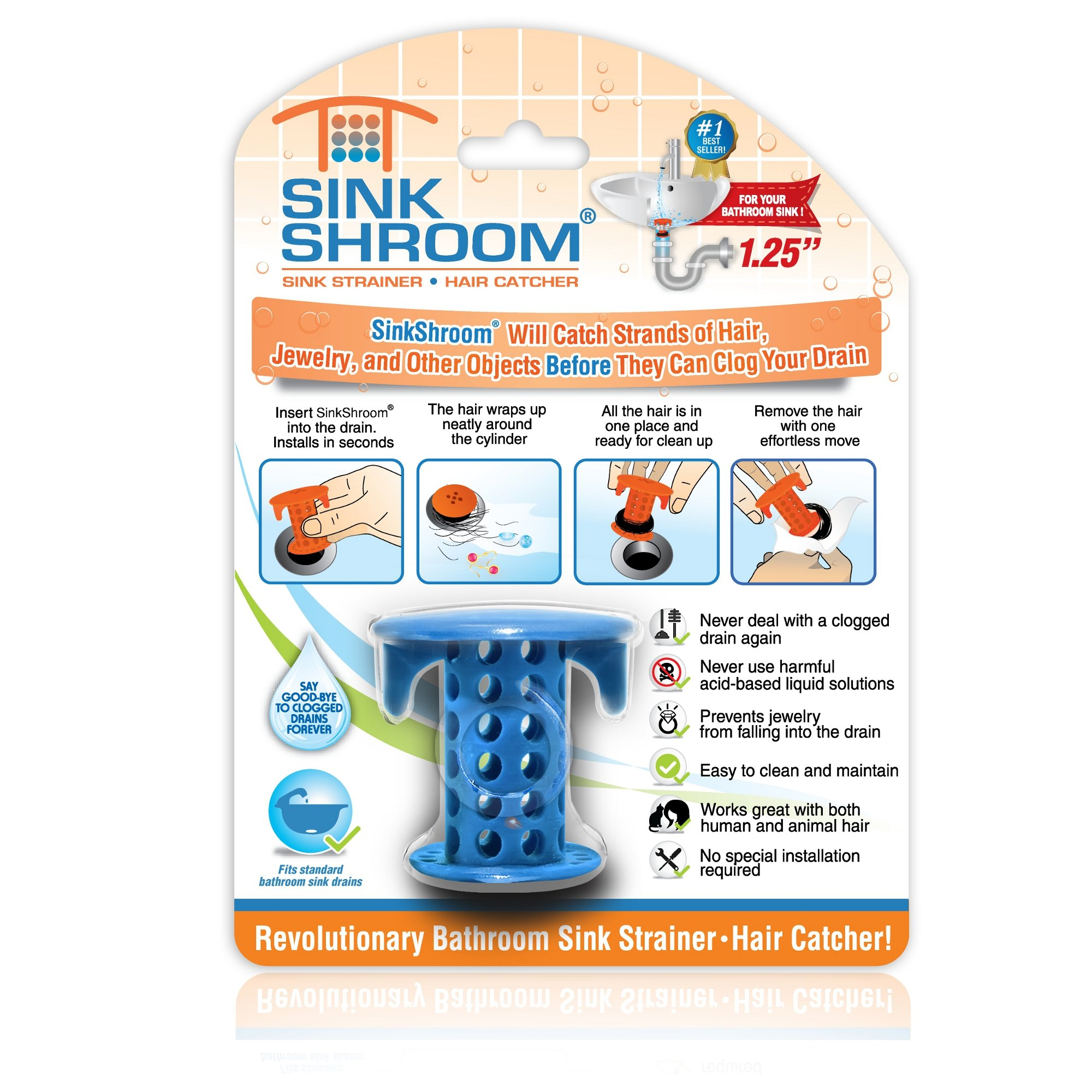 SinkShroom The Revolutionary Sink Drain Protector Hair Catcher/Strainer/Snare, Blue by TubShroom