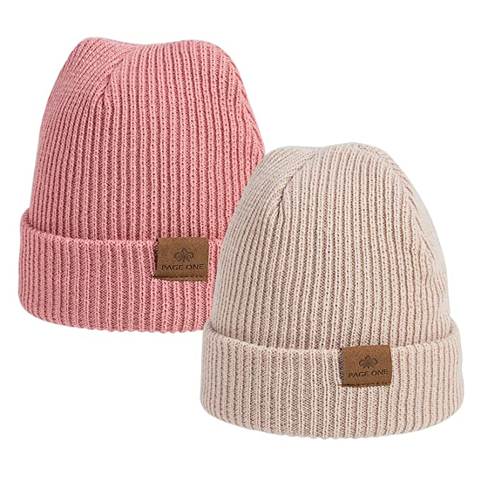 6d2a7d778da PAGE ONE Boys Girls Winter Daily Beanie Slouchy Beanie Windproof Warm Knit  Snow Skull Cap 2