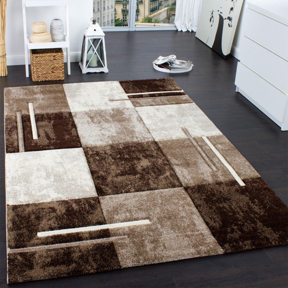 Paco Home Designer Teppich Modern mit Konturenschnitt Karo Muster Marmor Optik Braun Creme, Grösse 200x290 cm