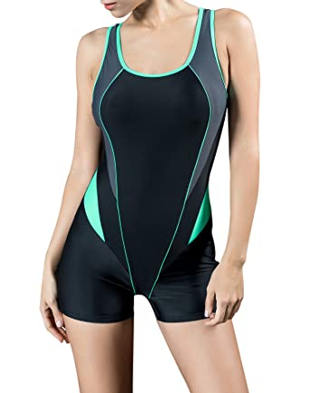 ba0ca6e8d3cd5 Uhnice Women s Athletic One Piece Swimsuit Backless Strap Splice Bathing  Suit (Small(US4-