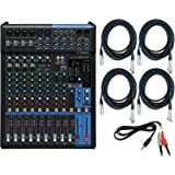 Yamaha MG12XU 12 Input Analog Mixer with Microphone Preamps , Dedicated Stereo Line Channels , Aux Sends, EQ and Digital Effects with 4 Microphone Cables and Stereo Breakout Cable