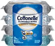 Cottonelle Flushable Wet Wipes, 168 Wipes (42 per Pack), 4 packs, For Adults and Kids, Alcohol Free, Sewer Safe, Septic Safe