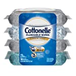 Cottonelle Flushable Wet Wipes, 168 Wipes per Pack, 4 packs, For Adults and Kids, Alcohol Free, Sewer Safe, Septic Safe