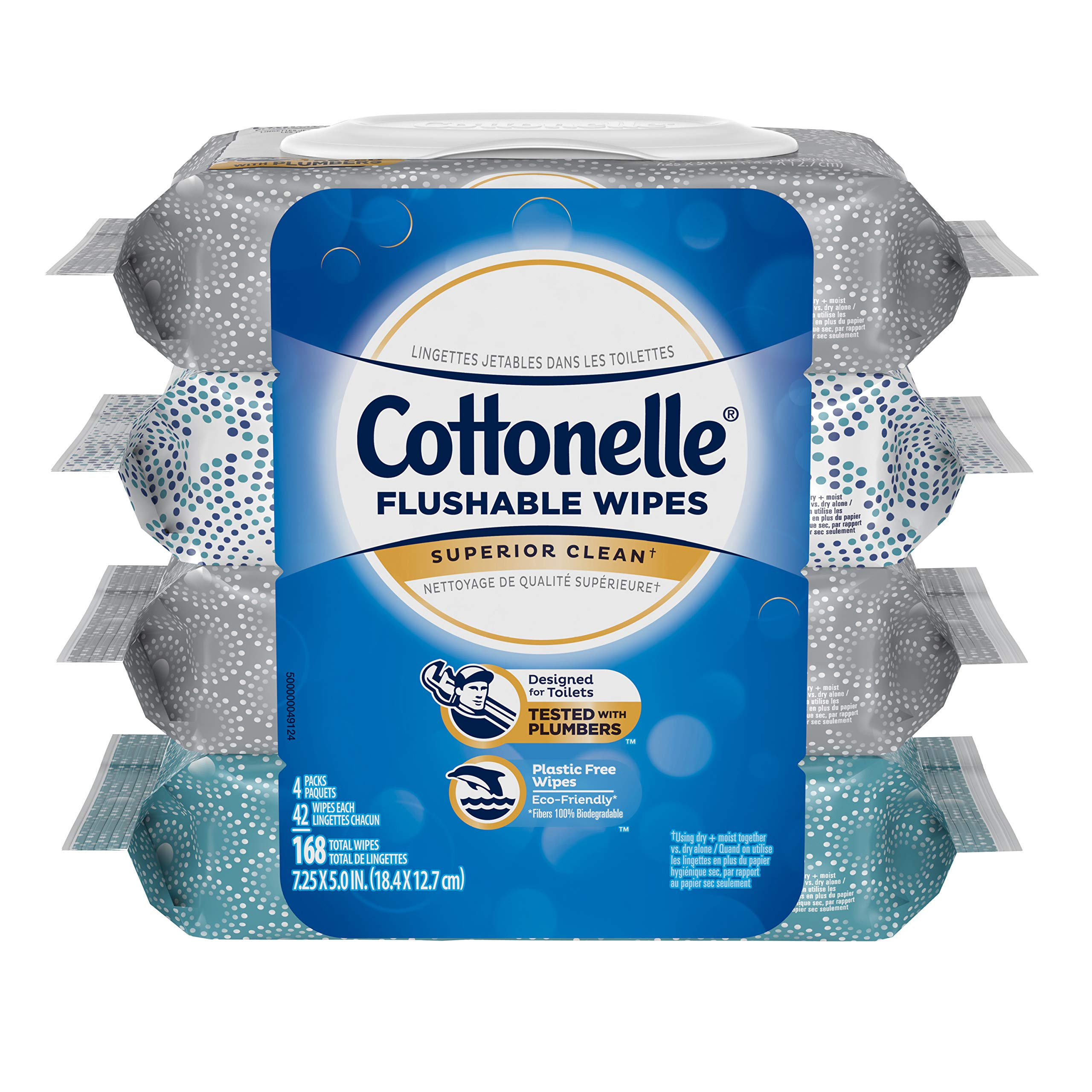 Cottonelle Flushable Wet Wipes, 168 Wipes per Pack, 4 packs, For Adults and Kids, Alcohol Free, Sewer Safe, Septic Safe product image