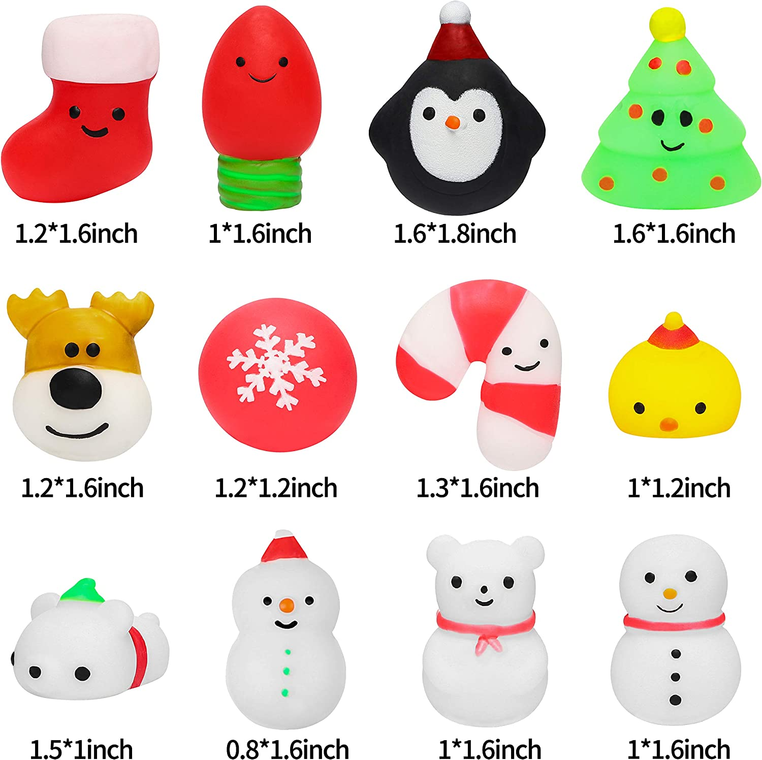 Kawaii Animal Squeeze Squishies for Kids Stress Relief Toys Soft Jelly Mochi for Xmas Party Favors Christmas Eve Surprise Include Snowman Cute Santa Decor WATINC 20Pcs Christmas Mochi Squishies