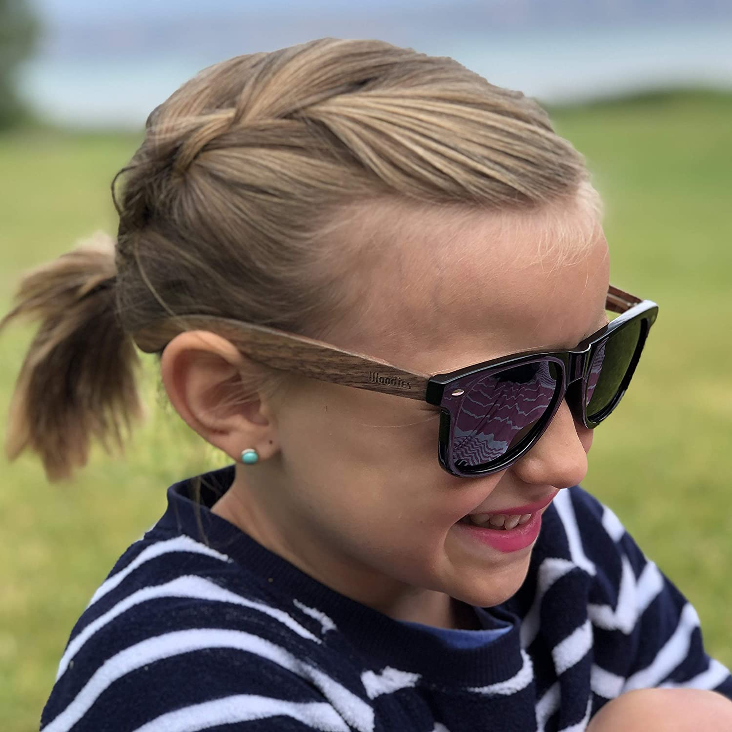 Woodies Walnut Wood Sunglasses for Kids with Polarized Lenses