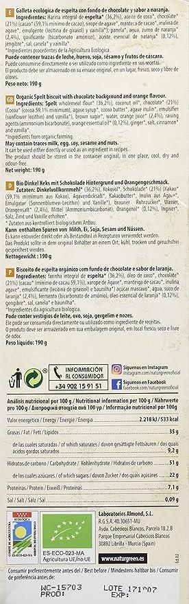 ECOGALLETA CHOCONARANJA ESPELTA FONDO DE CHOCOLATE: Amazon.es: Salud y cuidado personal