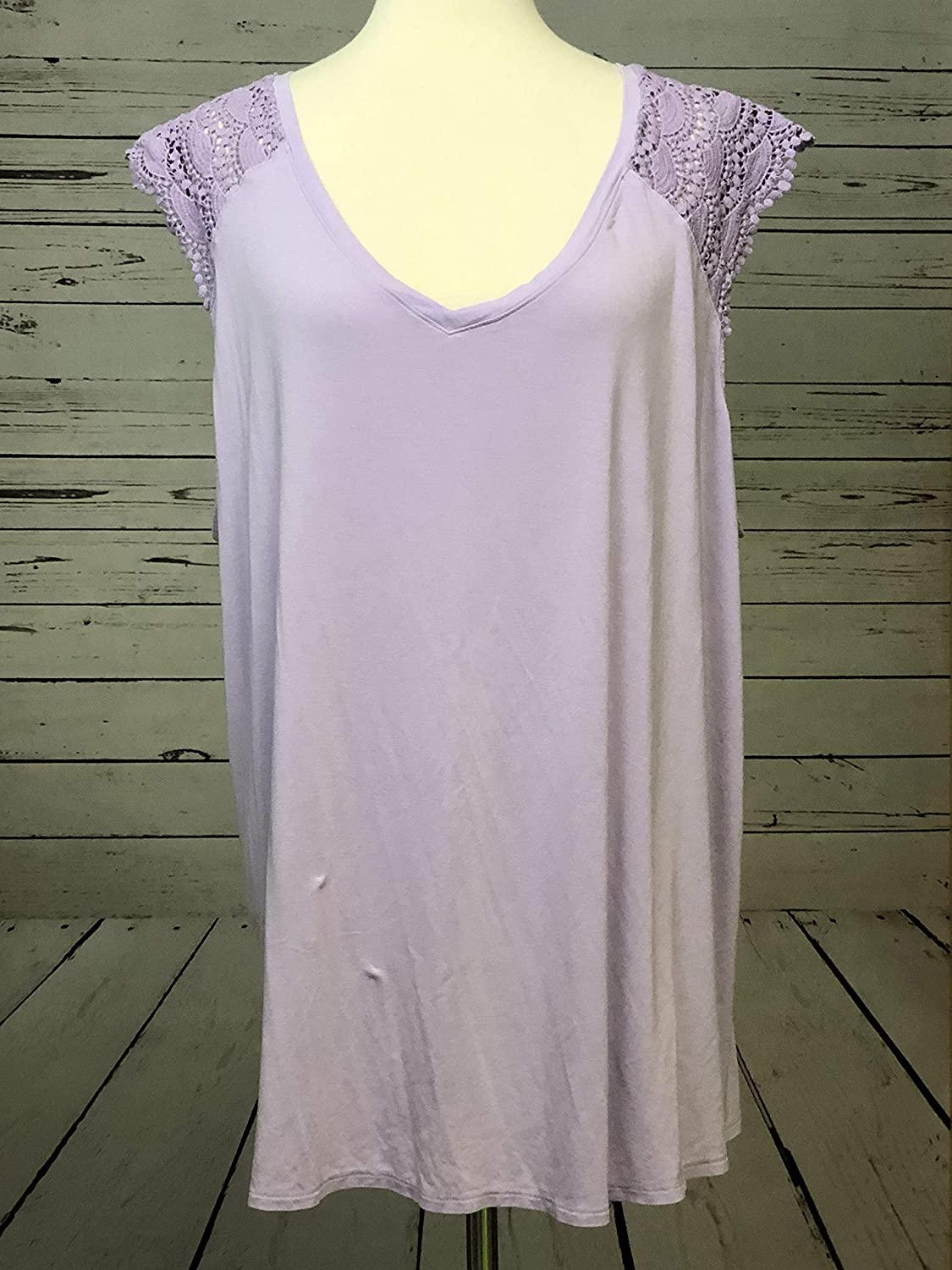 Ava Viv Womens Plus Size Sleeveless Tank Top Lace Shirt XXX-Large Purple