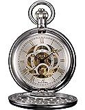 KS KSP010 - Reloj de Bolsillo Unisex Mecánico de Cuerda Manual, Caja Plateada