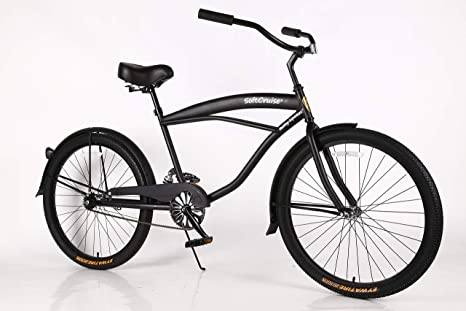 Bicicleta de playa para mujer Cruiser Bike Coral, marco de acero de 26 pulgadas, de una sola velocidad, con frenos y ruedas anchas, sillín ancho acolchado y ...