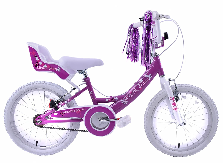 MIAMI MISS chicas 50,8 cm rueda para bicicleta BMX DOLLY asiento púrpura traje blanco edad 7 años+: Amazon.es: Deportes y aire libre