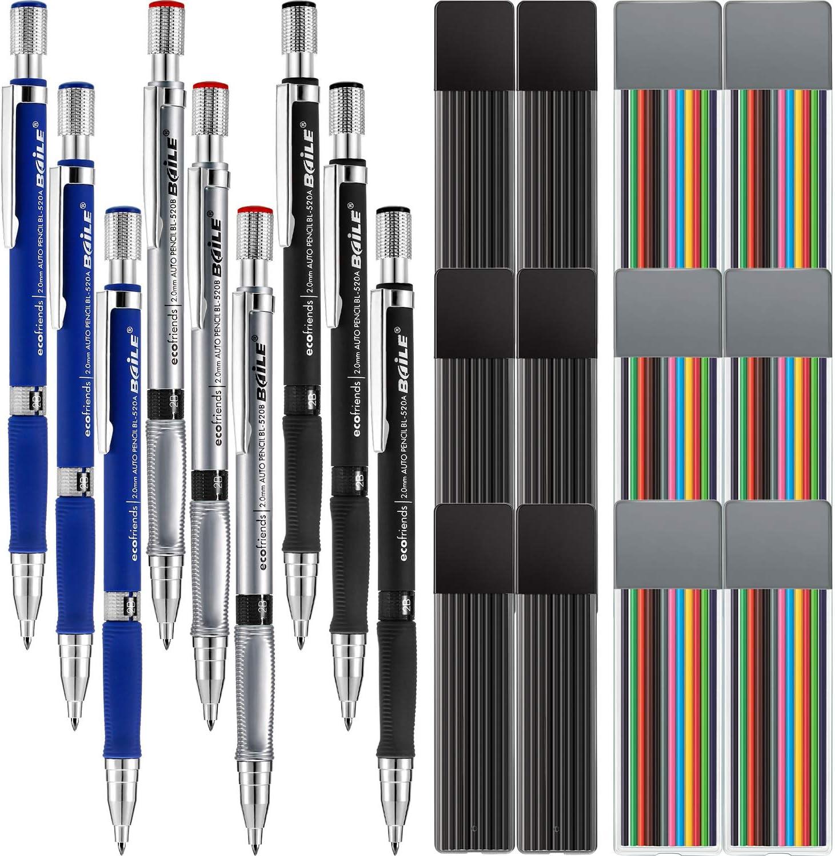 Jovitec 21 Pieces 2.0 mm Mechanical Pencil Set, 9 Pieces Automatic Pencils and 12 Cases Lead Refills