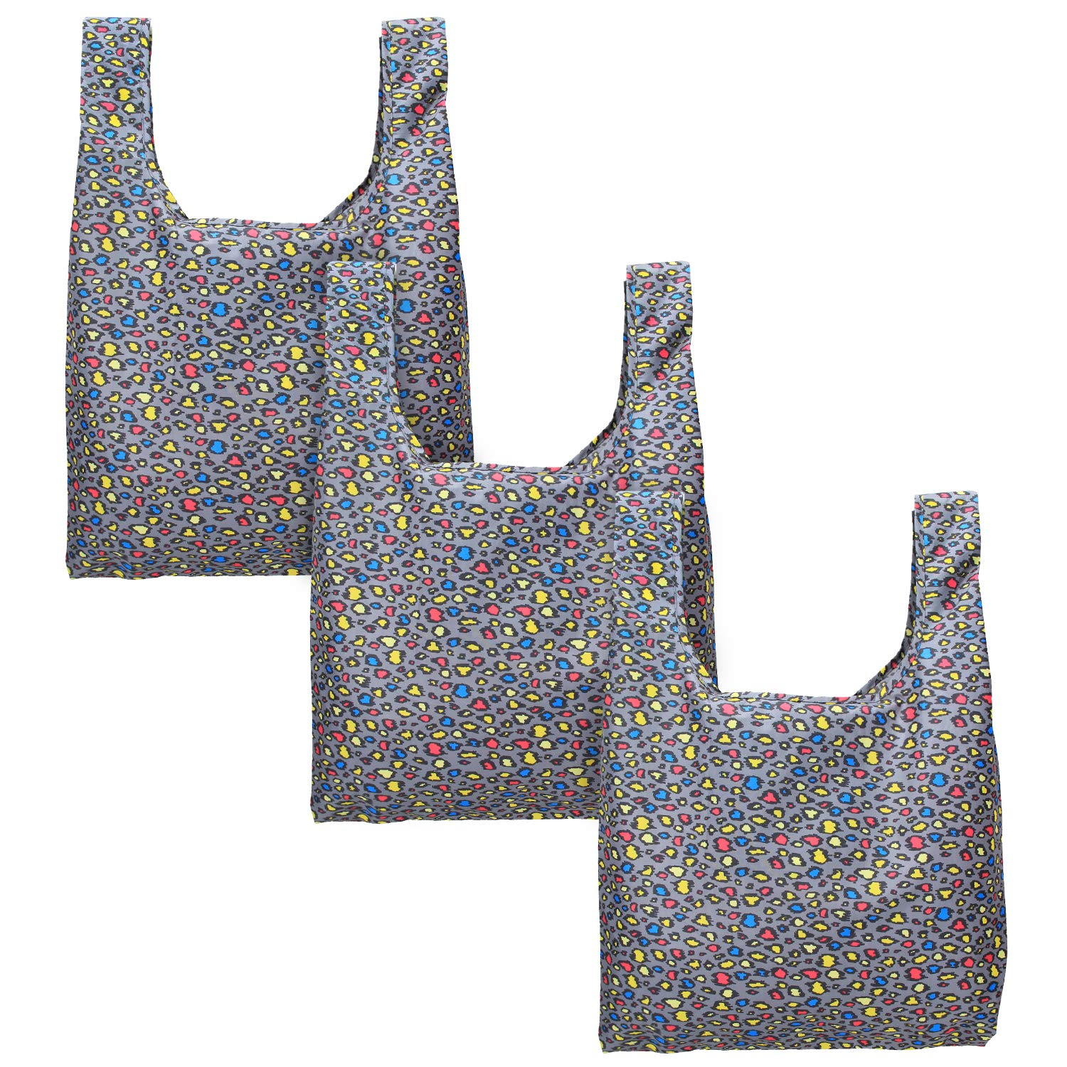 Luxja 3pcs Reusable Shopping Bag, Foldable Shopping Tote with Attached Pouch, Washable, Durable and Lightweight