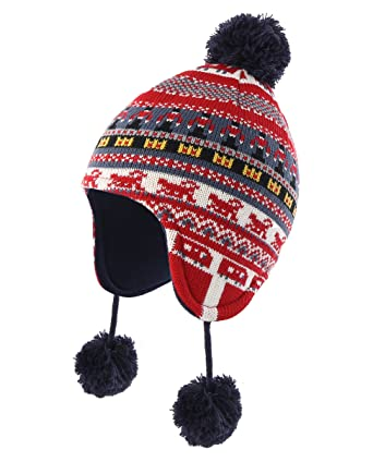 Decentron Infant Baby Boys Winter Hats with Ear Flaps Fleece Lined Kids Fair  Isle Peruvian Knit f1055d6d7156