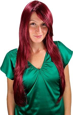 WIG ME UP- Peluca, rojo-berenjena, liso, largo, en capas 3110-39 70cms